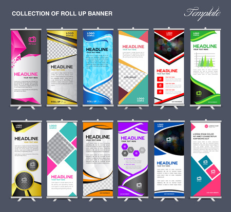 banner ad: Roll Up Banner  template Collection, stand template vector, flyer design,poster
