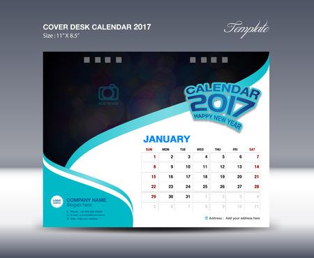 desk calendar: January Desk Calendar 2017 Template flyer design vector