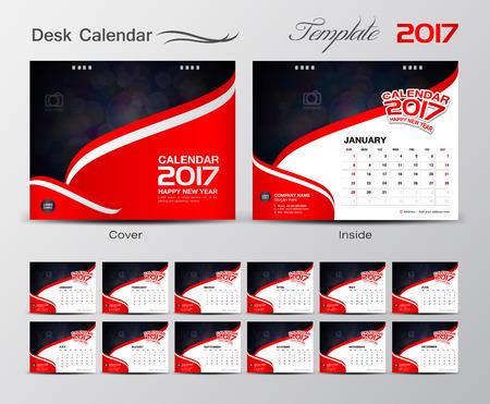 Set Kalender 2017 Sjabloon ontwerp Vector illustratie