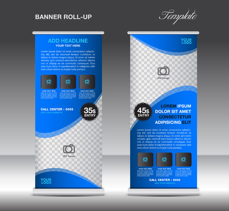 Blue Roll Up Banner template vector illustration for business Illusztráció