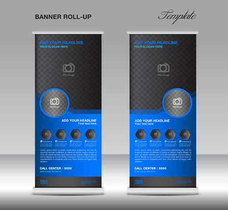display stand: Blue Roll up banner stand template display advertisement flyer vector