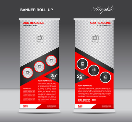 banner stand: Red Roll up banner stand template display advertisement flyer vector