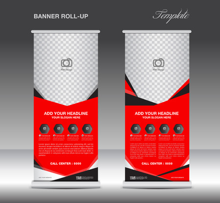 stand display: Red Roll up banner  template and Mobile infographics, stand display advertisement flyer vector