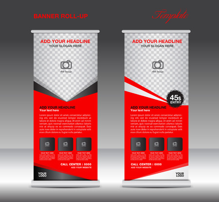 template: Red Roll Up Banner template vector illustration for business Illustration