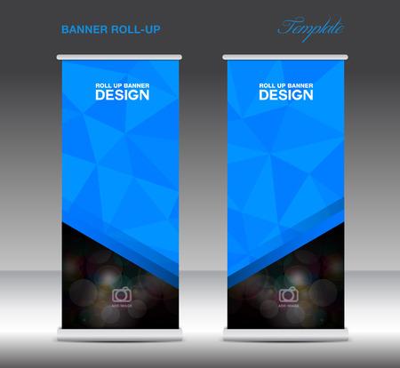 Bleu Roll Up bannière modèle vecto, stand mise en page, l'affichage, la publicité, la conception de flyer, polygone fond Banque d'images - 60631895