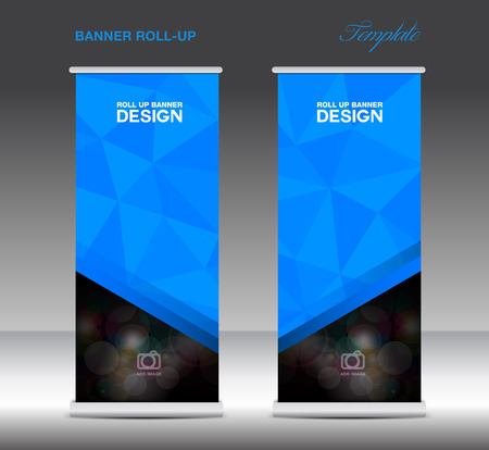 Blue Roll Up Banner template vecto, stand layout, display, advertisement, flyer design, polygon background Vettoriali
