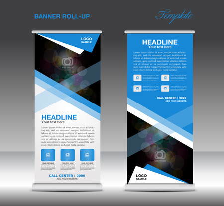newspaper roll: Blue Roll Up Banner template vector, standy design, display, advertisement flyer for corporate business