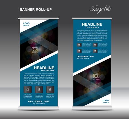 Blue Roll Up Banner modello vettoriale, design standy, display, flyer pubblicitario per corporate Archivio Fotografico - 60631892