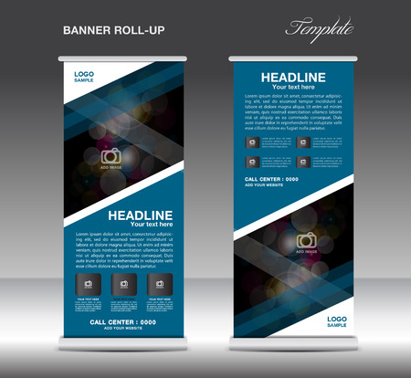 Blue Roll Up Banner sjabloon vector, standy design, display, advertentie flyer voor corporate Stock Illustratie
