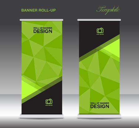 バナー テンプレート ベクトルを緑のロール スタンド レイアウト、表示、広告、フライヤー デザイン、ポリゴン背景