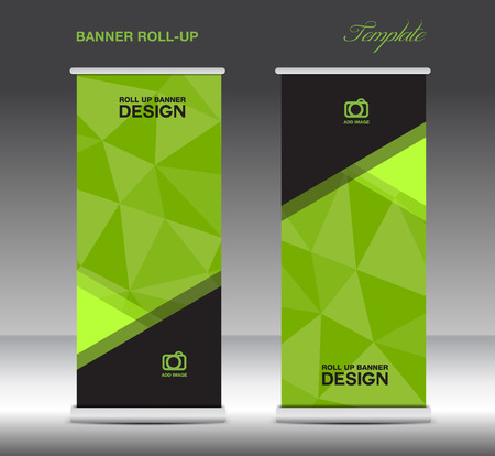 Green Roll Up Banner template vecto, stand layout, display, advertisement, flyer design, polygon background