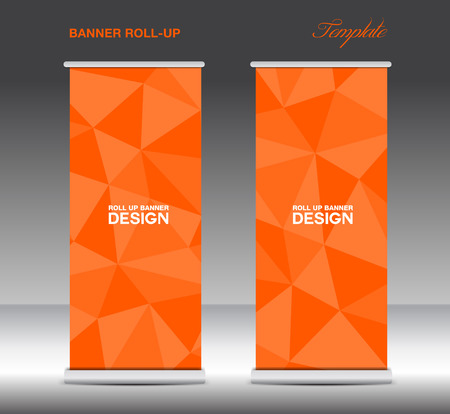 display stand: Orange Roll Up Banner template vecto, stand layout, display, advertisement, flyer design, polygon background