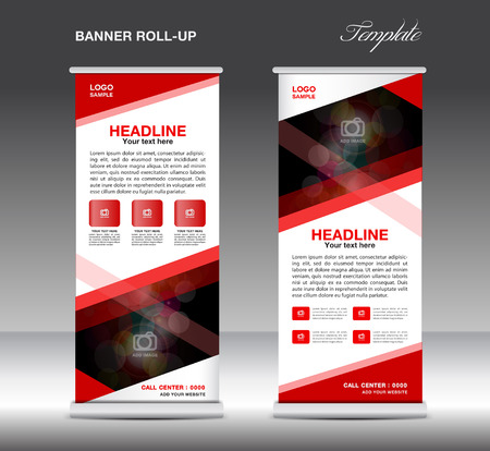 rollup: Red Roll Up Banner template vector, standy design, display, advertisement flyer for business