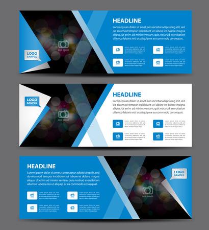 Niebieski baner szablon wektora, poziome transparentu, układ wyświetlania reklamy, projekt ulotki