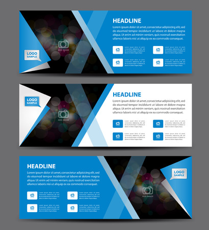 Vecteur de modèle de bannière bleu, bannière horizontale, mise en page d'affichage publicitaire, conception de flyer