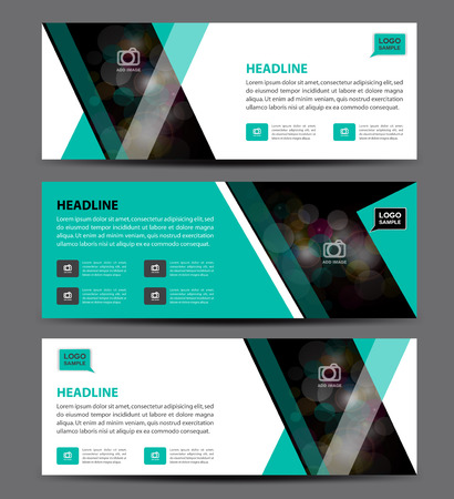 backdrop design: Green and white Banner Template vector, horizontal banner,advertising display layout, banner for web
