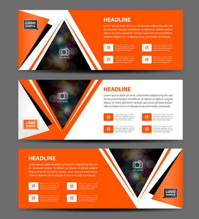 newspaper roll: Orange Banner Template vector, horizontal banner,advertising display layout, flyer design