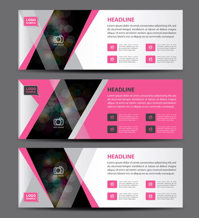 rollup: Pink Banner Template vector, horizontal banner,advertising display layout, flyer design