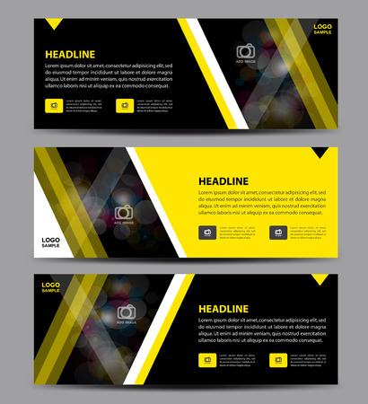 black banner: Yellow and black Banner Template vector, horizontal banner,advertising display layout, flyer design Illustration