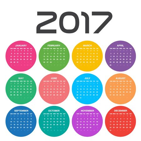 Simple calendar for 2017 Year in circles, Week Starts Sunday, colorful background Illustration