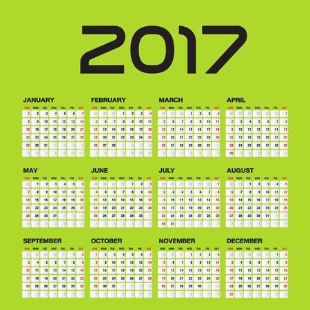 starts: Simple calendar for 2017 Year, Week Starts Sunday