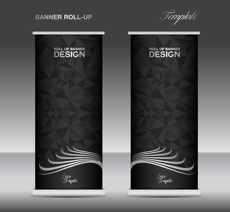black banner: Black and white Roll up banner  template vector, banner design, stand, black polygon background
