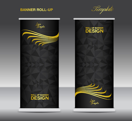 newspaper roll: Gold and black Roll up banner  template vector, banner design, stand, black polygon background
