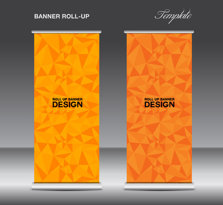 newspaper roll: Orange Roll up banner template vector, polygon background, banner design,