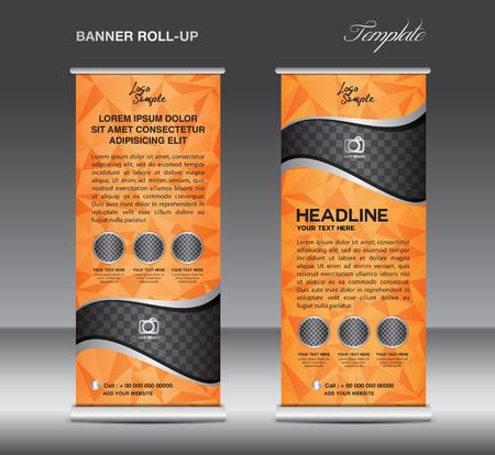 Arancione Roll up banner modello vettoriale, stand, design flyer, banner design, sfondo bianco poligono