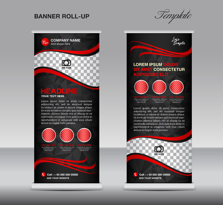 Red and black Roll up banner template vector, stand, flyer design, banner design, polygon background