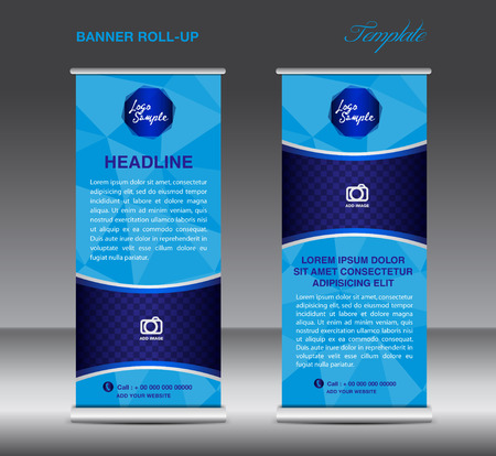 stand display: Blue Roll up banner template vector, polygon background , roll up stand, display, banner design, flyer, advertisement Illustration