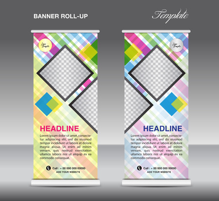 stand display: Colorful Roll up banner template vector, roll up stand, display, banner design, flyer, advertisement