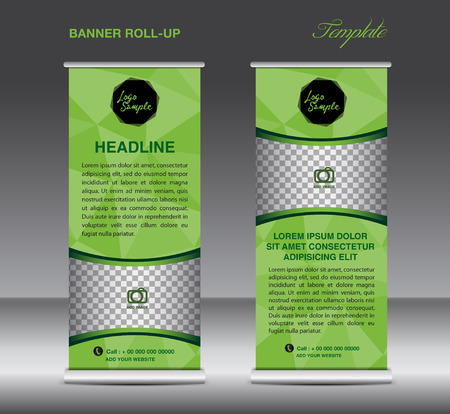Green Roll up banner template vector, polygon background , roll up stand, display, banner design, flyer, advertisement Illustration