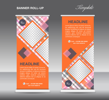 display stand: Orange Roll up banner template vector, roll up stand, display, banner design, poster flyer, advertisement