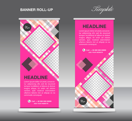display stand: Pink Roll up banner template vector, roll up stand, display, banner design, poster flyer, advertisement