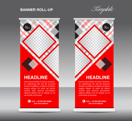 stand display: Red Roll up banner template vector, roll up stand, display, banner design, poster flyer, advertisement Illustration