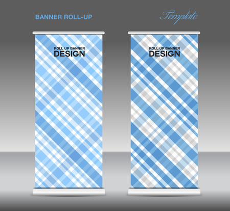 display stand: Blue Roll up banner template vector, roll up stand, display, banner design, poster flyer, advertisement