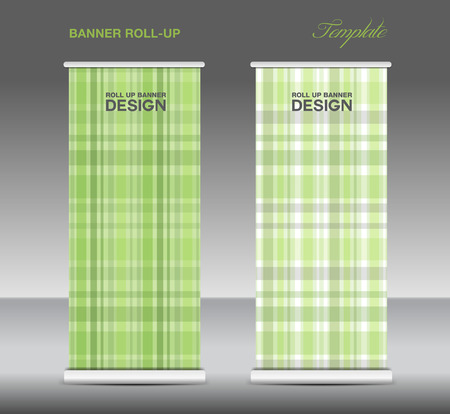 stand display: Green Roll up banner template vector, roll up stand, display, banner design, flyer, advertisement