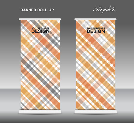 display stand: Orange Roll up banner template vector, roll up stand, display, banner template, Scottish pattern background