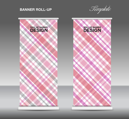 stand display: Pink  Roll up banner template vector, roll up stand, display, banner template, Scottish pattern background
