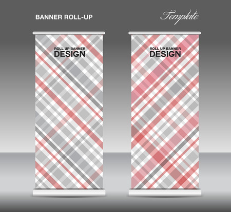 display stand: Red  Roll up banner template vector, roll up stand, display, banner template, Scottish pattern background Illustration