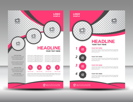 Pink business brochure flyer design layout template in A4 size, cover, annual report, magazine ads, poster, catalog