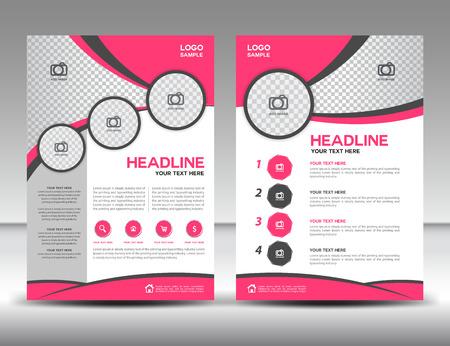 Pink zakelijke brochure flyer ontwerp lay-out template in A4-formaat, dekking, jaarverslag, tijdschrift advertenties, poster, catalogus