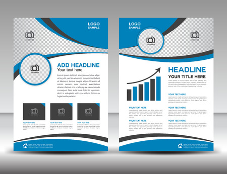 Blue business brochure flyer design layout template in A4 size, cover, annual report, magazine ads, poster, catalog
