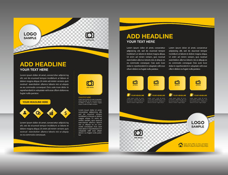 Yellow business brochure flyer design layout template in A4 size, newsletter, leaflet,vector, cover, annual report, magazine ads, poster, catalog Illustration