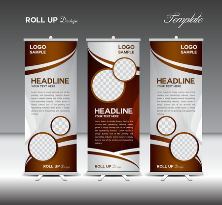 Black and white Roll Up Banner template vector illustration, coffee roll up stand, coffee banner design, advertisement, display, flyer design  イラスト・ベクター素材
