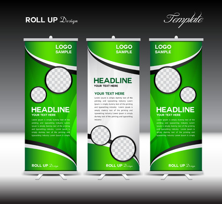 display stand: Green Roll Up Banner template vector illustration, roll up stand, banner design,advertisement, display, flyer design Illustration