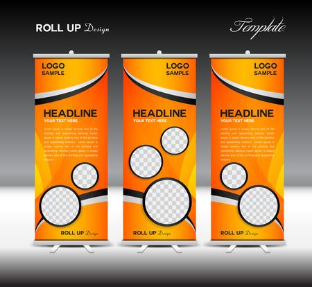 display stand: Orange Roll Up Banner template vector illustration, roll up stand, banner design,advertisement, display, flyer design