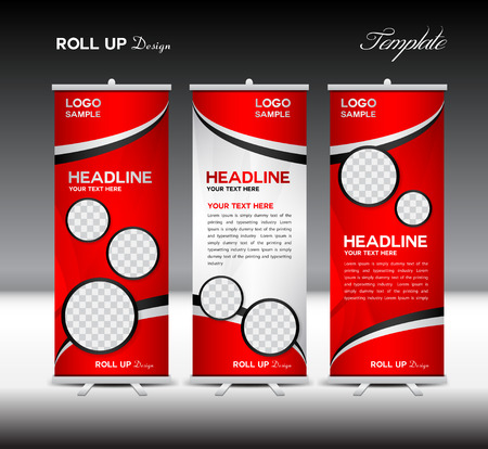 display stand: Red Roll Up Banner template vector illustration, roll up stand, banner design,advertisement, display, flyer design