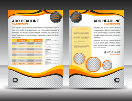 orange background abstract: Yellow business brochure flyer design layout template in A4 size, poster, leaflet,ads,newsletter, cover, annual report, magazine ads, catalog,book Illustration